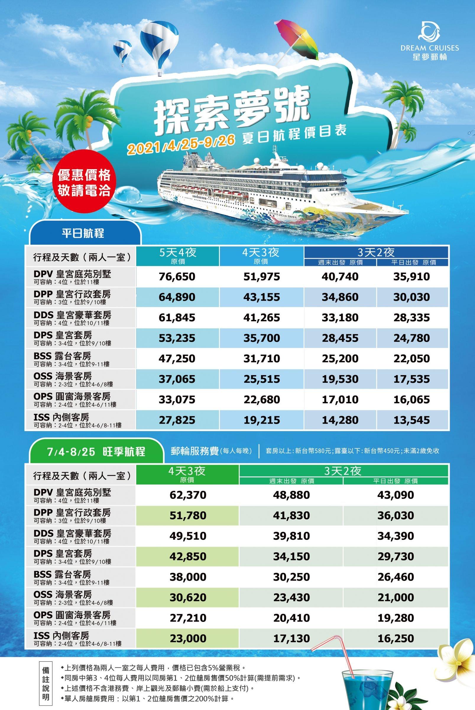 2021年夏季航程價目表